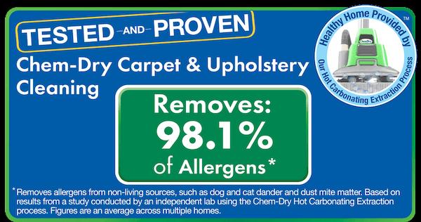 Chem-Dry removes 98.1% of common household allergens